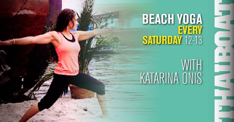 "Beach Yoga<br><span class=""event-time"">3:e aug, kl 12.00 – 13.00</span>"